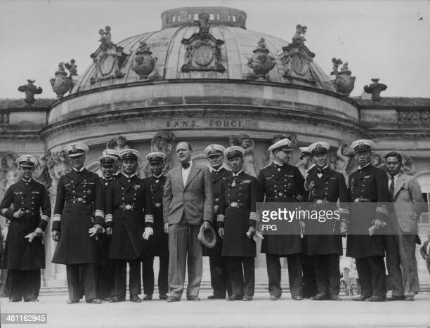 Japanese naval officers from the cruiser Ashigara at Sanssouci Palace sightseeing in Berlin during World War Two circa 19431945