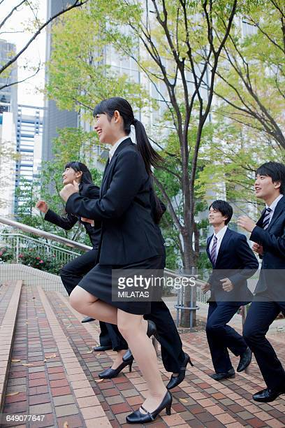 Japanese new society who go up the stairs