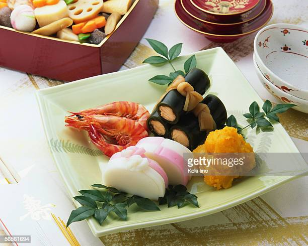 japanese new year dishes - osechi ryori stock pictures, royalty-free photos & images
