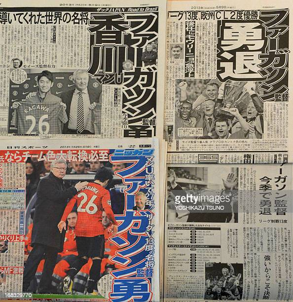 Japanese newspapers print pictures of Alex Ferguson following the news of his retirement as Manchester United's manager after 26 years in charge the...