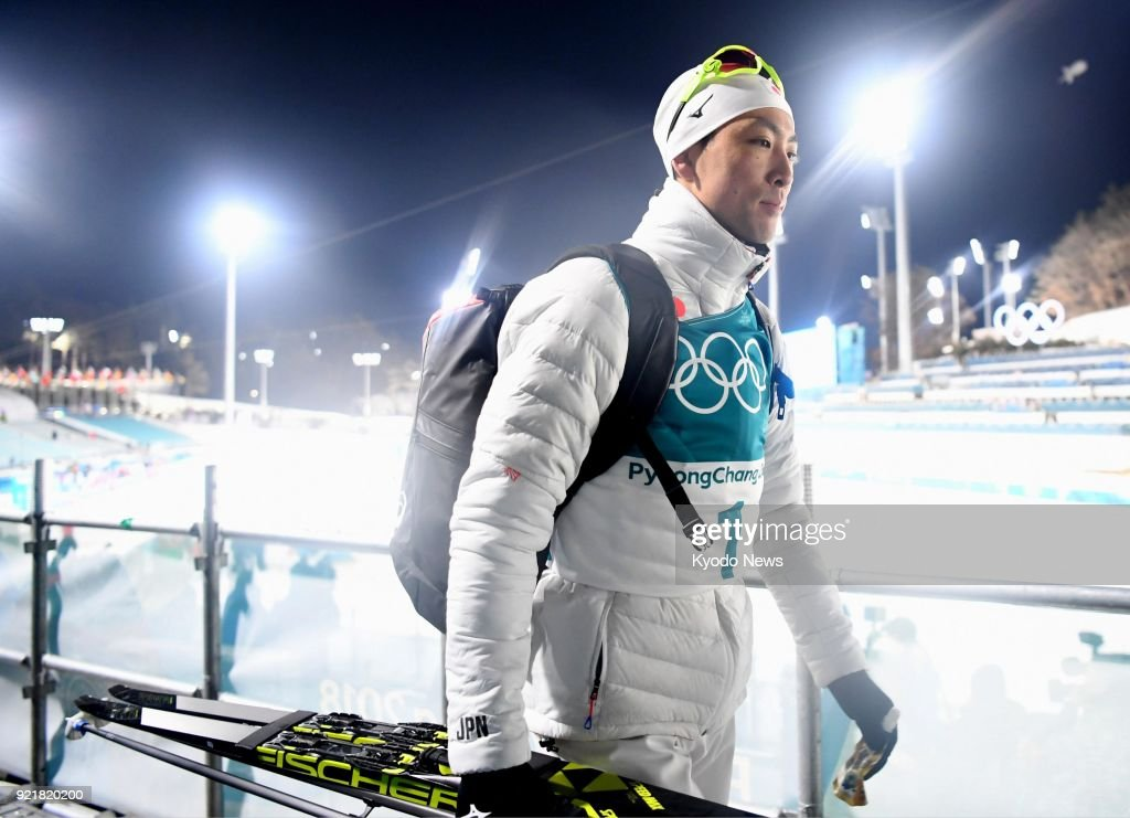 Japanese Nordic combined skier Akito Watabe leaves after finishing fifth in the individual large hill 10-kilometer event at the Pyeongchang Winter Olympics in South Korea on Feb. 20, 2018. ==Kyodo