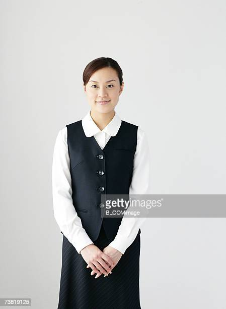Japanese office worker smiling