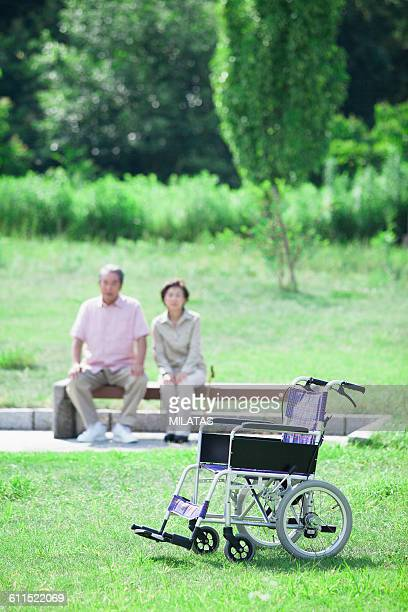 Japanese old man and wheelchair