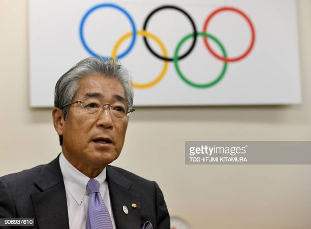 Japanese Olympic Committee president Tsunekazu Takeda speaks during an interview with AFP at his office in Tokyo on January 19 2018 The Japanese city...