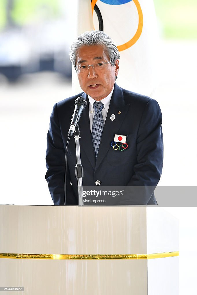 Japanese Olympic Committee(JOC)President Tsunekazu Takeda speaks during the 'The Arrival of Olympic Flag Ceremony' at Haneda Airport on August 24, 2016 in Tokyo, Japan.