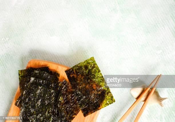 Japanese or korean roasted seaweed snack. Roasted Dried Seaweed. Healthy Snack. Copy space.