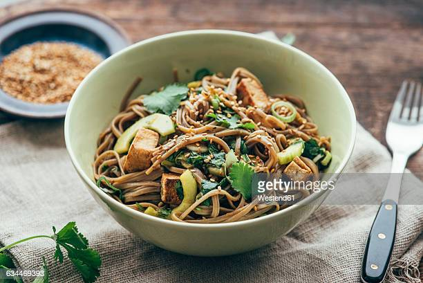 japanese otsu salad with buckwheat noodles, soba - soba stock pictures, royalty-free photos & images