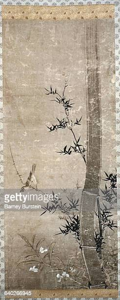 Japanese Painting of a Bird on Bamboo