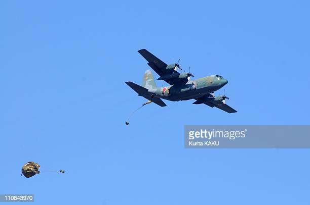 Japanese Parachute Troops Exercises Attended By 400 Military Men At Narashino Base In Narashino Japan On January 10 2010 Prefecture JSDF Parachute...