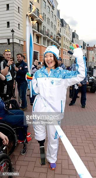 Japanese Paralympian Mami Sato takes part in the Paralympic torch relay ahead of the Sochi 2014 Winter Paralympics on March 6, 2014 in Sochi, Russia.