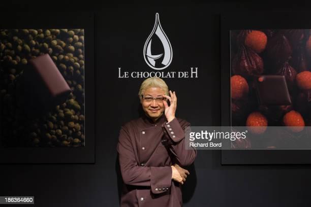 Japanese pastry and chocolate maker Hironobu Tsujiguchi of 'Le Chocolat de H' poses during the Salon du Chocolat at Parc des Expositions Porte de...