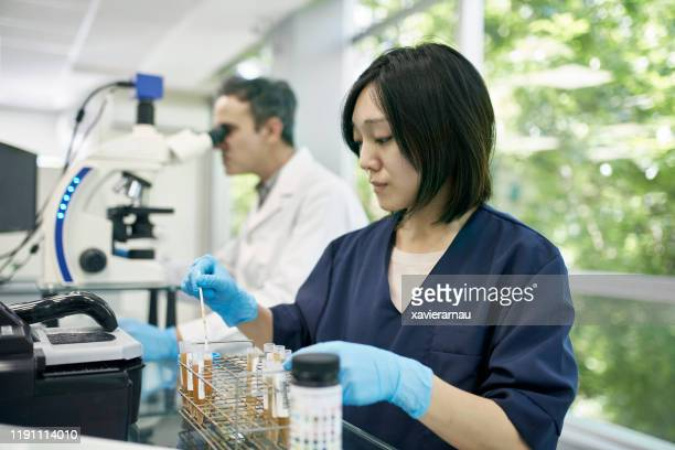 técnico de patología japonesa probando orina con chem strip - laboratorio clinico fotografías e imágenes de stock