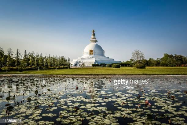 japanese peace pagoda, one of the many international buddhist temples surrounding the birthplace of buddha siddhartha gautama, lumbini, rupandehi, nepal - 名作 発祥の地 ストックフォトと画像