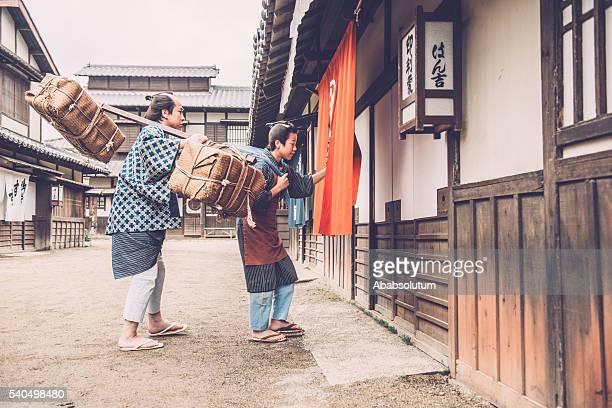 日本の農民、バーデンと彼の息子、江戸時代、京都 - edo period ストックフォトと画像