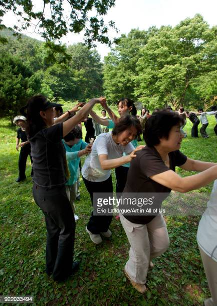 Japanese people originated from North Korea having fun in a park North Hwanghae Province Sariwon North Korea on September 10 2008 in Sariwon North...