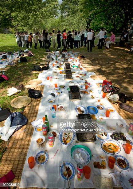 Japanese people originated from North Korea having pinic in a park North Hwanghae Province Sariwon North Korea on September 10 2008 in Sariwon North...