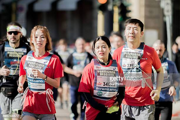 Japanese people run and enjoy during 45th edition Stramilano running event in Milan on 20th March 2016 Stramilano is the most famous city race in...