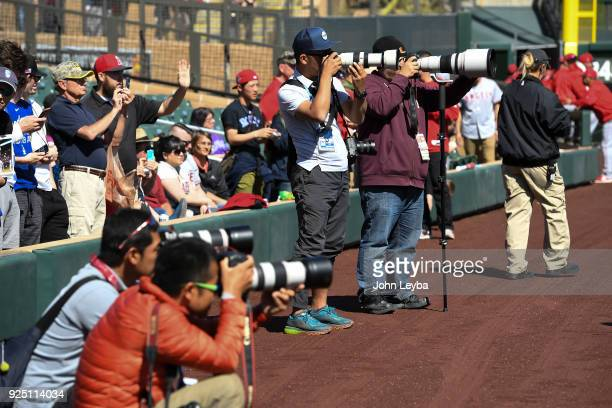 Japanese photojournalist focus their cameras on Los Angeles Angels starting pitcher Shohei Ohtani prior to the the game against the Colorado Rockies...