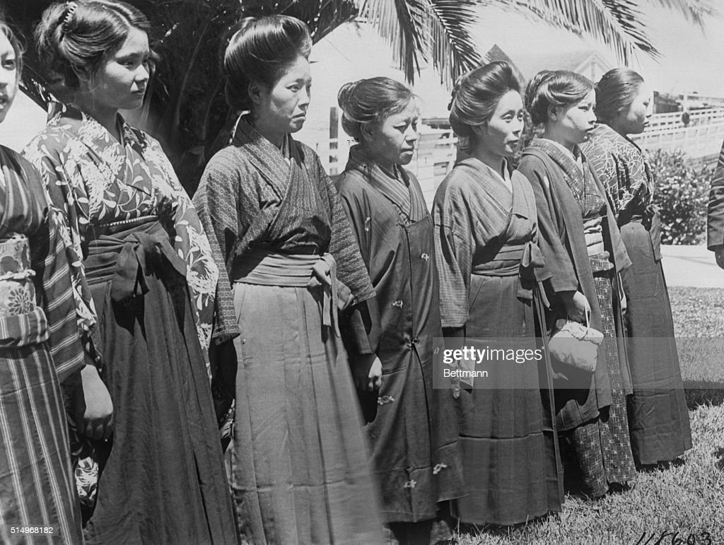 Japanese Brides Lining up for Inspection : News Photo