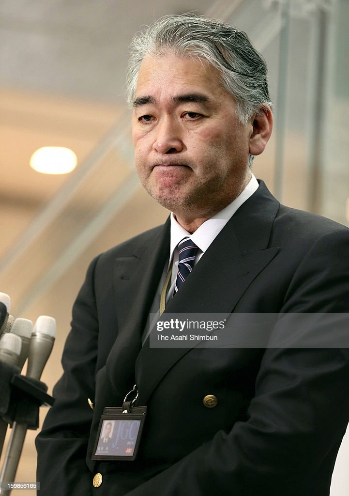 Japanese plant construction company JGC Co spokesman Takeshi Endo sheds tears during a press conference at their headquarters on January 21, 2013 in Yokohama, Kanagawa, Japan. Japanese government officials, president and staffs of Japanese plant constructor JGC Co, who are in In Anemas confirmed seven Japanese nationals were killed in the Algerian hostage crisis.
