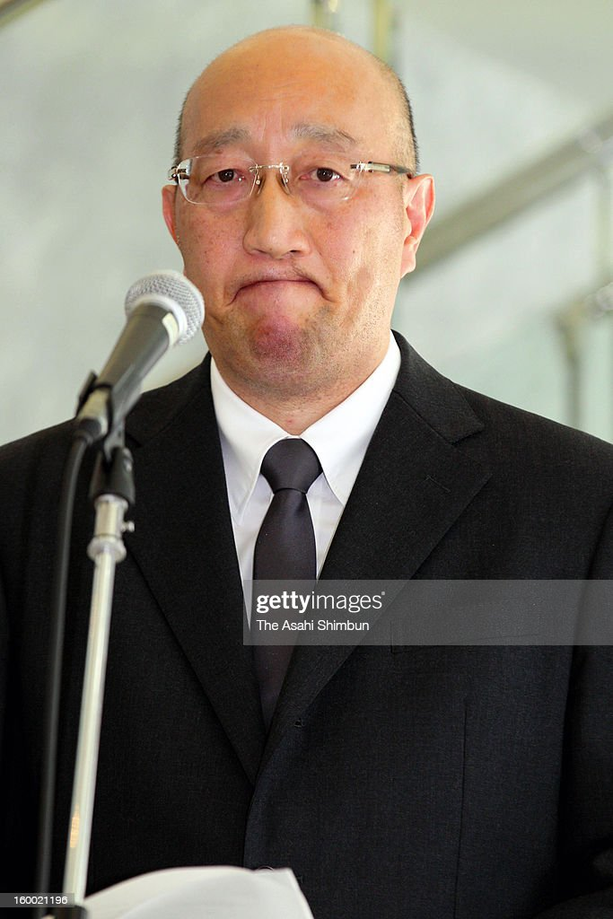 Japanese plant constructor JGC Co president Koichi Kawana speaks during a press conference at the company headquarters on January 25, 2013 in Yokohama, Kanagawa, Japan. A Japanese government aircrafts carrying the seven survivors and the bodies of nine victims of the Algerian hostage crisis return home.