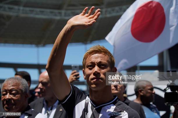 Japanese player Keisuke Honda waves to fans during his presentation of the Brazilian team Botafogo at Engenhao Stadium on February 8, 2020 in Rio de...