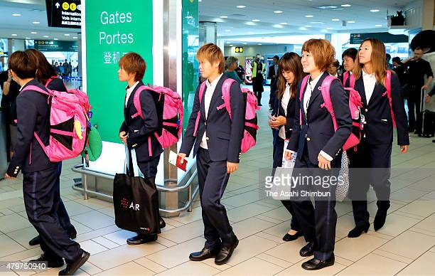 Japanese players are seen on departure at Vancouver International Airport on July 6, 2015 in Vancouver, Canada.