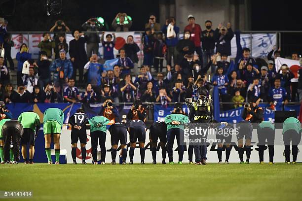 Japanese players bow toward their supporters after their 61 win in the AFC Women's Olympic Final Qualification Round match between Vietnam and Japan...