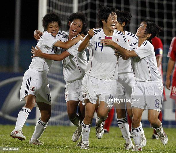 Japanese players celebrate a goal against North Korea during the FIFA Women's Under17 semifinal match on September 21 at the Ato Boldon Stadium in...