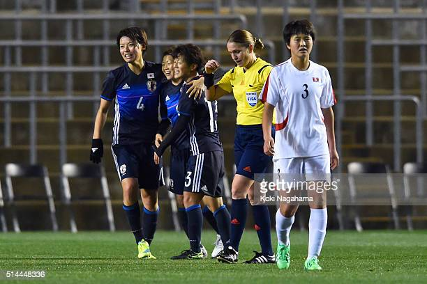 Japanese players celebrate their 10 win in the AFC Women's Olympic Final Qualification Round match between Japan and North Korea at Kincho Stadium on...