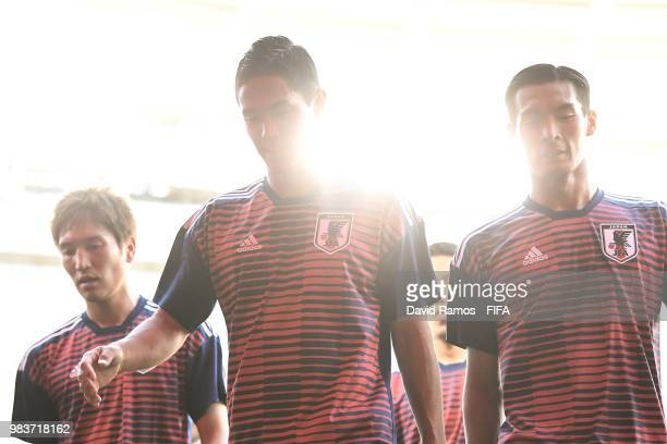Japanese players heads the tunnel after the warm up prior to the 2018 FIFA World Cup Russia group H match between Japan and Senegal at Ekaterinburg...