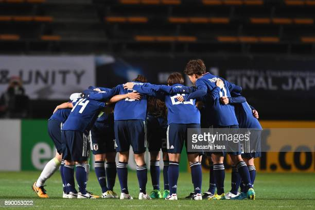 Japanese players huddle during the EAFF E1 Women's Football Championship between Japan and China at Fukuda Denshi Arena on December 11 2017 in Chiba...