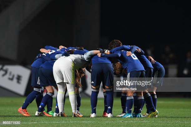 Japanese players huddle during the EAFF E1 Women's Football Championship between Japan and North Korea at Fukuda Denshi Arena on December 15 2017 in...