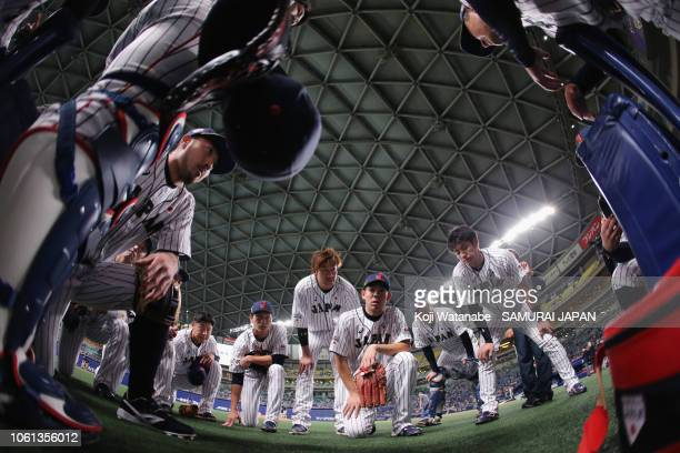 Japanese players huddle prior to the game five between Japan and MLB All Stars at Nagoya Dome on November 14, 2018 in Nagoya, Aichi, Japan.