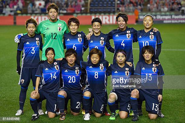 Japanese players line up for the team photos prior to the AFC Women's Olympic Final Qualification Round match between Japan and North Korea at Kincho...