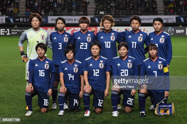 Japanese players line up for the team photos prior to the EAFF E1 Women's Football Championship between Japan and China at Fukuda Denshi Arena on...