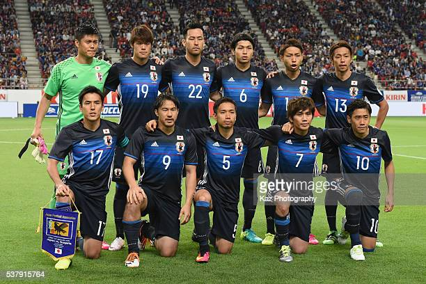 Japanese players line up for the team photos prior to the international friendly match between Japan and Bulgaria at the Toyota Stadium on June 3...