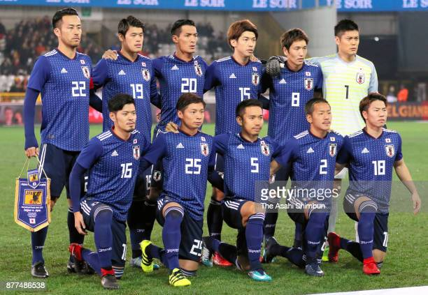 Japanese players line up for the team photos prior to the international friendly match between Belgium and Japan held at Jan Breydel Stadium on...