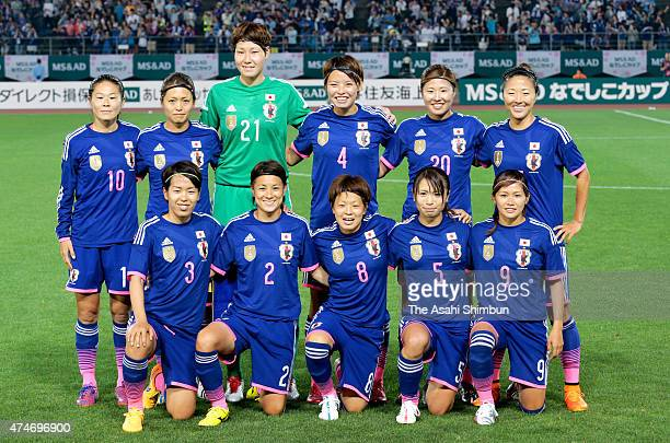 Japanese players line up for the team photos prior to the women's soccer international friendly match between Japan and New Zealand at Kagawa...
