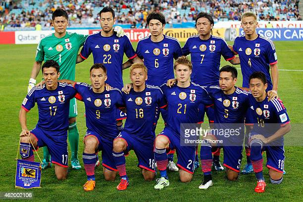 Japanese players pose for a team photo prior to the 2015 Asian Cup Quarter Final match between Japan and the United Arab Emirates at ANZ Stadium on...