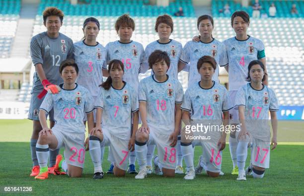 Japanese players pose for a team photograph before the Fifth Place 2017 Algarve Cup match between Japan and The Netherlands at the Estadio Algarve on...