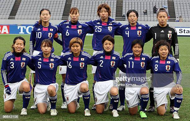 Japanese players pose for photographs prior to playing the East Asian Football Federation Women's Championship 2010 match between Japan and South...
