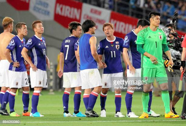 Japanese players raect after the 11 draw in the international friendly match between Japan and Syria at Tokyo Stadium on June 7 2017 in Chofu Tokyo...