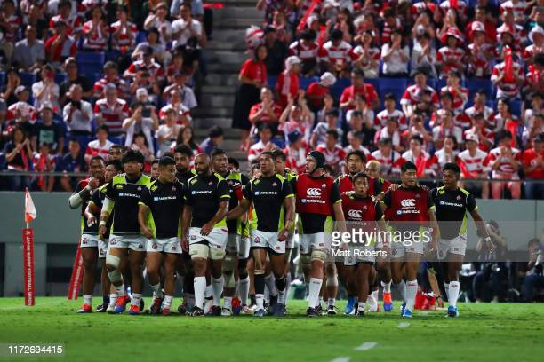 Japanese players return to the dressing room after the warm up prior the international match between Japan and South Africa at Kumagaya Rugby Stadium...