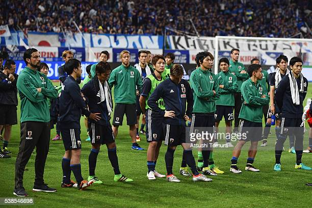 Japanese players show their dejeciton after the 12 defeat in the international friendly match between Japan and Bosnia and Herzegovina at the Suita...