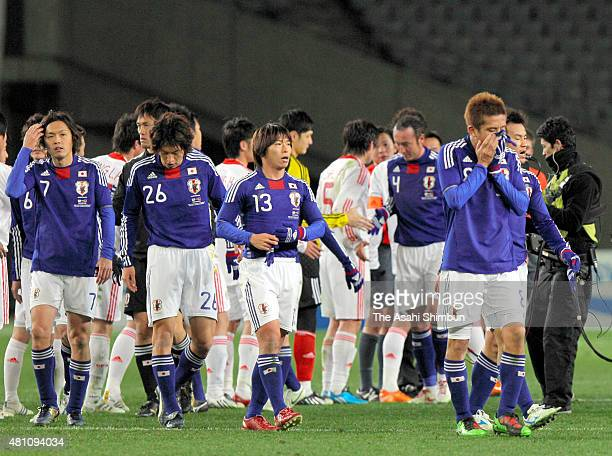 Japanese players show their frustration after the scoreless draw in the East Asian Football Championship match between Japan and China at the...