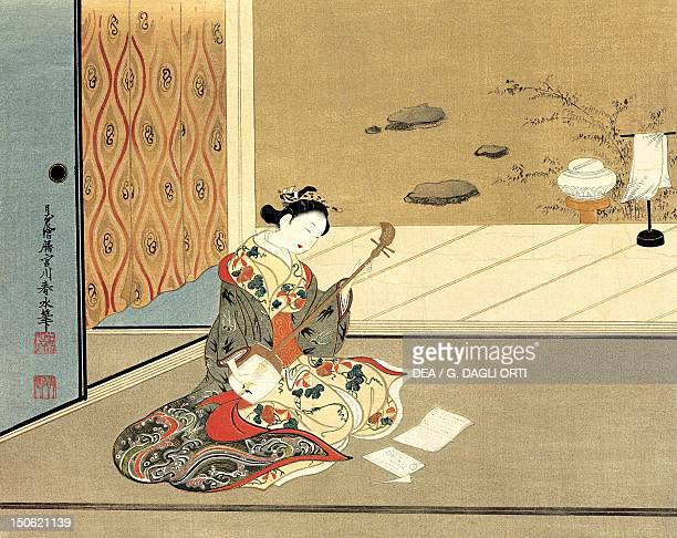 Japanese playing the shamisen artist from the Miyagawa school kakemono in ukiyoe style Japan Japanese Civilisation 18th century
