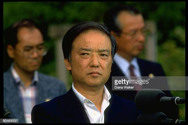 Japanese PM Toshiki Kaifu pausing to reflect speaking at press conf outside paying call on Pres Bush in Kennebunkport ME