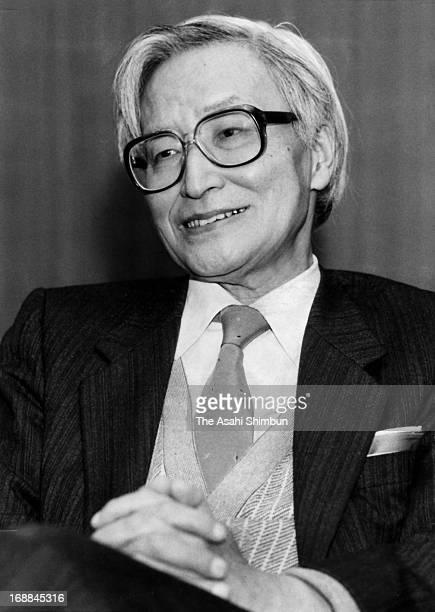 Japanese political scientist Masao Maruyama speaks during the Asahi Shimbun interview in 1985 in Tokyo Japan