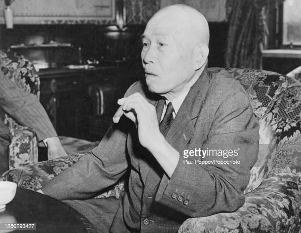 Japanese politician Toshio Shimada Speaker of the House of Representatives of Japan is interviewed in Tokyo on 14th September 1945 Shimada was...